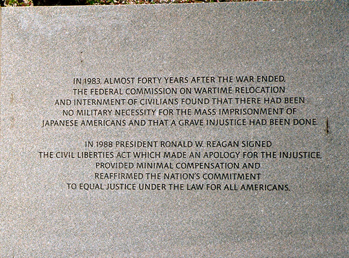Explanatory Panel, National Japanese American Memorial to Patriotism During World War II, Detail.