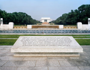 """""""Here in the Presence of Washington and Lincoln,"""" World War II Memorial, 2008-12, 76.2 x 96.5 cm."""